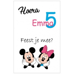 Uitnodiging Mickey-Minnie Mouse